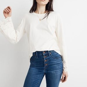 MADEWELL | Eyelet Embroidered Tier-Sleeve Tee